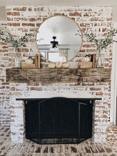 35 Gorgeous Natural Brick Fireplace Ideas (Part : Try one of these 35 Gorgeous Natural Brick Fireplace Ideas to complete your modern farmhouse or coastal chic indoor outdoor living spaces. Update y Rustic Mantle, Farmhouse Fireplace Mantels, Modern Fireplace, Fireplace Design, Rustic Farmhouse, Farmhouse Style, Fireplace Ideas, Fireplace Outdoor, Fireplace Mirror