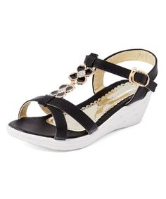Another great find on #zulily! Black Esther Wedge Sandal #zulilyfinds
