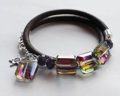 colorful Wrap bracelet beaded bangle - amethyst and rainbow quartz. $88.00, via Etsy.
