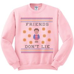 Friends Don't Lie Crewneck Sweater, Ugly Sweater, Stranger Things... (74 MYR) ❤ liked on Polyvore featuring tops, sweaters, collared sweater, collared shirt, pink sweater, crewneck sweaters and crewneck shirts