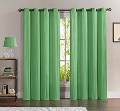 2 Panels Textured Grommet Window Curtains 50 X 84 Total 100 X 84 Green >>> Read more reviews of the product by visiting the link on the image.