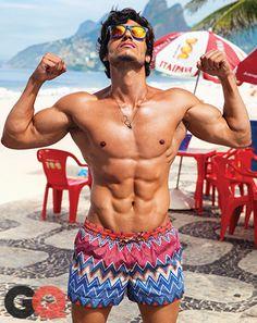 Best Men's Summer Swim Trunks in Rio, Brazil World Cup Jeff Seid, Fitness Motivation, Workout Bauch, Hot Beach, Best Ab Workout, Best Abs, Gq Magazine, Hommes Sexy, Swim Trunks