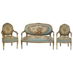 Louis XV Three-Piece Gilt Salon Suite with Aubusson Upholstery | From a unique collection of antique and modern living room sets at https://www.1stdibs.com/furniture/seating/living-room-sets/