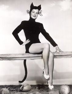 Actress Audrey Young as a black cat for Halloween, 1946. #vintage #1940s #Halloween
