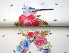 Stenzo18 11939-02 Tricot digitaal paneel bloemen/vogeltjes/libelle off-white/multi