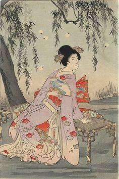 Catching Fireflies by Chikanobu (1838 - 1912)
