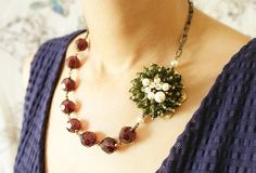 Olive Statement Necklace, beaded clustered pearls necklace, winter holiday statement necklace. $72.50, via Etsy.
