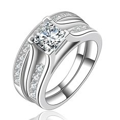 Fine Jewelry Women Engagement Ring Have Logo Real Silver Ring Set Luxury 1 Carat CZ Diamant Wedding Rings Wholesale Wedding Rings Sets Gold, Wedding Rings Vintage, Wedding Rings For Women, Vintage Rings, Vintage Style, Wedding Set, Engagement Sets, Engagement Jewelry, Wedding Engagement