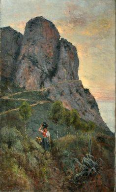 Hay Bernardo (Firenze 1864 - dopo il 1916) Contadine a Capri olio su tela