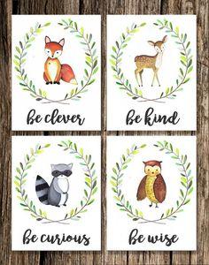 Woodland / Baby Gift / Nursery Decor / Shower Gift / Bear / Boho / Wall Art / Nature / Home Decor / Tribal / Fox / Deer / Bunny / Owl Moose Woodland Animal Nursery Decor Woodland Animal Nursery, Woodland Nursery Decor, Woodland Animals, Woodland Creature Baby Shower, Animal Theme Nursery, Themed Nursery, Woodland Theme, Animal Decor, Tribal Fox