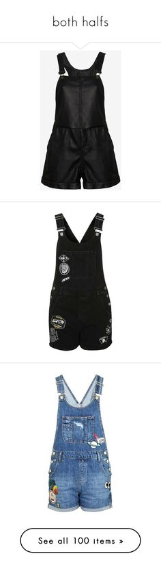 """both halfs"" by dramaqueensmilez ❤ liked on Polyvore featuring jumpsuits, rompers, overalls, shorts, playsuits, overalls jumpsuit, shorts overalls, leather rompers, lined bib overalls and leather overalls"