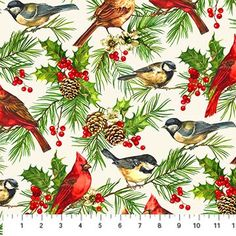 Home for the Holidays~Birds on White~Christmas Cotton Fabric by~Northcott~Fast Shipping HC293