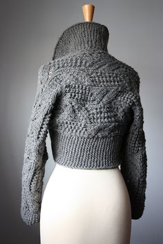Classic handknit leafy lacy shrug Oxford Grey / dark gray by VitalTemptation , Etsy, via Flickr