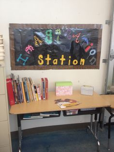 Imagination station. I added this to my Art classroom as an incentive for students who have finished early and successfully completed the project  Included in the center art history books, art how to books, stencils, stamps, assorted craft papers, and art games.