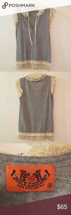 Juicy Couture Lace gray sweater blouse This is a short sleeved gray sweater blouse from Juicy Couture with light lace at the shoulders, waist, and neck! Super cute and surprisingly warm! Has a very princess-cy look! Fits like a XS or S. 100% Cashmere! Juicy Couture Tops