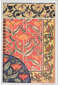 Motifs Art Nouveau, Design Art Nouveau, Art Nouveau Pattern, Flowers Illustration, Illustration Art Nouveau, Art Vintage, Vintage Posters, Design Vintage, Papier Peint Art Nouveau