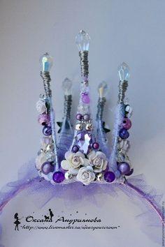 Купить Корона на ободке. Сиреневая, фиолетовая корона. Корона для принцессы. - сиреневый, фиолетовый, серебряный