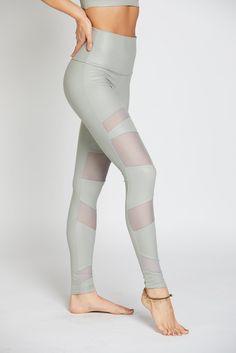 High Rise Bondage Legging - Stone Fishnet #Green #L #Leggings
