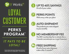 It literally PAYS to be a Loyal Customer w/ It Works Global!  My 40% Distributor discount on everything 10% back on each order Free shipping on orders $125 or more Free shipping on all orders after 3 months on Auto-Ship $50 shopping spree when you order consecutively for 6 months  $150 shopping spree when you order consecutively for 12 months    Everything ships directly to YOU  Earn Free Wraps for Referrals too!!!!!   Lets Chat Today about our 90 Day Challenge!!  - http://ift.tt/1HQJd81