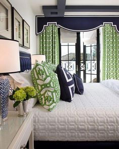 Colorful Master Bedrooms - Craft-O-Maniac Navy-and-Green-Bedroom.-Gorgoeus-bedroom-with-navy-and-green-decor.-Bedroom-Navy-Green-DecorNavy-and-Green-Bedroom.-Gorgoeus-bedroom-with-navy-and-green-decor. Green Rooms, Bedroom Green, Home Bedroom, Bedroom Decor, Bedroom Ideas, Bedroom Designs, Bedroom Inspiration, Preppy Bedroom, Blue And Green Living Room