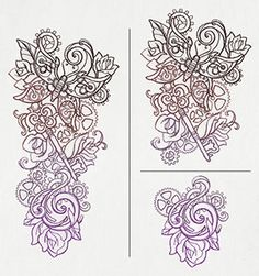 "Wear your steampunk on your sleeve with this tattoo-style design! Split into two parts. Size listed is for largest piece; total length is about 9.5"". Stitch count listed is for both pieces together."