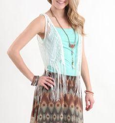 White Poppy Womens Fringe Crochet Vest / $12.99 / PacSun