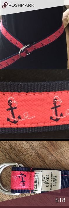 "LL BEAN Belt. LL BEAN Belt with anchor design. Never worn. 39"" long. Beautiful condition. Red white and blue! NWOT. LL Bean Accessories Belts"
