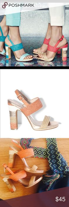 "Vince Camuto Aiden Platform The Adrien is woven and leather sandal with colorblock detailing. Platform at front. Ankle strap has buckle fitting. Heel Height: 4-1/2"" Platform Height: 3/4"" . Wear at front . No trades. Vince Camuto Shoes Platforms"