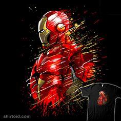 Splatter Iron, a t-shirt by albertocubatas at UmamiTees Geek Shirts, Iron Man, Marvel Comics, Spiderman, Geek Stuff, Darth Vader, Superhero, Wallpaper, Fictional Characters