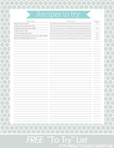 Pinch A Little Save-A-Lot: Free: Recipes To Try List.goes perfectly with her recipe binders! Fixate Cookbook, Making A Cookbook, Homemade Cookbook, Printable Recipe Cards, Printable Paper, Cookbook Display, Cookbook Storage, Cookbook Design, Cookbook Ideas