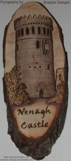 Nenagh Castle Pyrograph by snazzie-designz on DeviantArt Woodburning, Pyrography, Handmade Crafts, Castle, Deviantart, History, Artwork, Castles, Wood