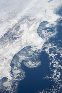 Ice floes - Kamchatka Peninsula of Russia as seen from the International Space Station