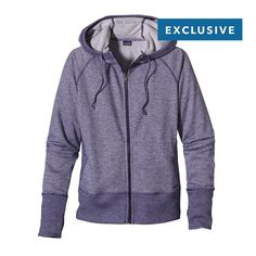 Patagonia Women's Cloud Stack Hoody: For summer's morning chill, this polyester/organic cotton blend full-zip hoody has handwarmer pockets and a ribbed hem and cuffs.