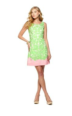 Capricia Dress in New Green Oversized Engineered Eyelet