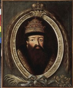 Portrait of Tsar Alexei I The Quiet Mikhailovich Romanov (Aleksei-Aleksey) (29 Mar 1629-29 Jan 1676) Russia by unknown Russian master. 3rd Child of Tsar Mikhail-Michael I Fyodorovich Romanov & Yevdokiya-Eudoxia Lukyanovna Streshneva.