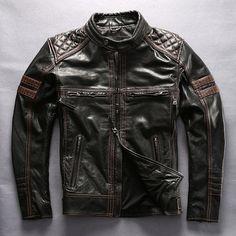 Men Black Cowhide Leather Motorcycle Bomber Jackets Clothing Store SKU-116048
