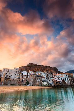 Italy Light reflection clouds sky color wow Sunrise in Cefalù, Palermo, Sicily
