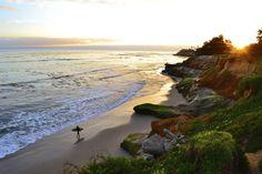 East Cliff surfer at Pleasure Point Overlook in Santa Cruz, California. © Sylvia Valentine