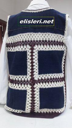 Eski Kot Pantolondan Yelek Nasıl Yapılır. – El İşlerimiz Crochet Hooks, Free Crochet, Crochet Top, Crochet Designs, Crochet Patterns, Recycle Jeans, Art N Craft, Crochet Jacket, Old Jeans