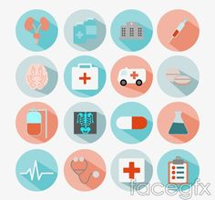 Delicate medical icons vector