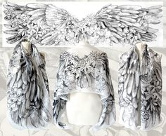 Angelic Wings by Minkulul hand drawn on silk. Art by Luiza Malinowska