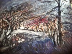 Blustery evening in moonlight.  Mary Smith www.mary-smith.co.uk
