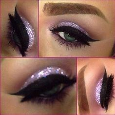Love the purple and the dark cat eyeliner