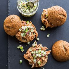 Pulled Chicken Sliders with Apple-Jicama Relish | Williams-Sonoma