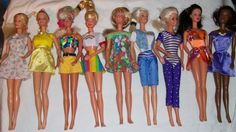 9 Barbie Outfits Clothes Swimsuit, Purple leotard, Dresses, Capri's, Tops (EUC) #Mattel