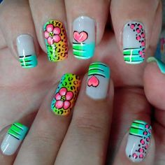 Amazing Acrylic Nails With Neon Animal Print, Flowers, & Hearts! Love Nails, Fun Nails, Pretty Nails, French Nails, Manicure, Diy Nail Designs, Nagel Gel, Fabulous Nails, Nail Decorations