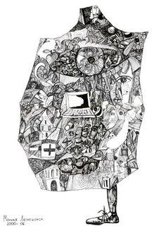 Nika Lemi. Компьютерный мир | Бумага,  тушь, гелевая ручка, 40 х 30 см, без багета | Черно белая графика абстракция сюрреализм