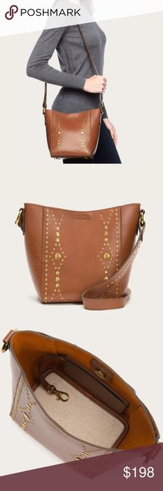 "Frye Harness Stud Crossbody Bucket 🌷Please Read the description! Thanks!🌷  Brand new with tag. Scratches on the leather due to displaying Retail: $398 Color: Rust Brass hardware 9"" H, 9 1/2"" W,  21 3/4"" strap drop Decorative strap buckle One interior pocket Magnet closure Color may be slightly different bcz of lighting  🌈💯AUTHENTIC 🌈All sales are final 🚭Smoke & Pet free home 🙅NO TRADES  🙅NO HOLDS Frye Bags"