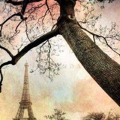 Západ slunce na Eiffelovu věž - Fotografie romantismu umění - všechny velikosti
