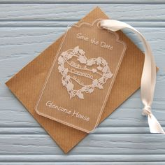 Floral Heart Wreath Save The Date. These clear acrylic cards are a unique and special way to announce your #wedding